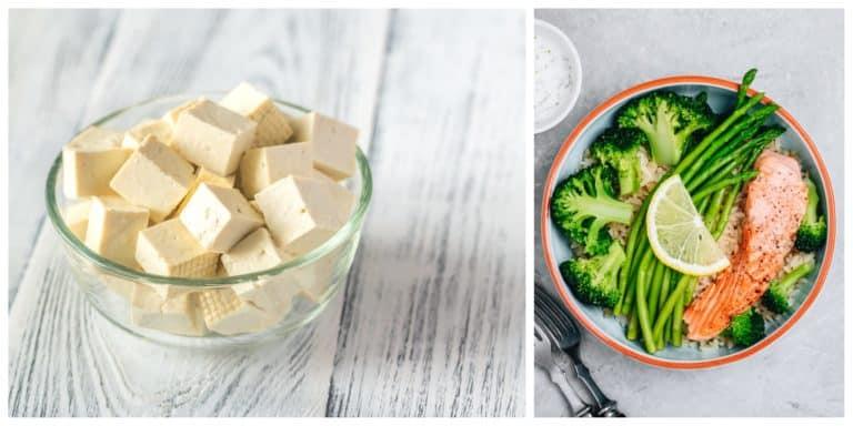 ארוחת צהריים דיאטת חלבונים וקרעת גבינה מלוחה קשה